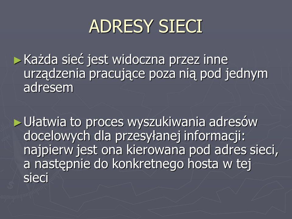 ADRESY SIECI Aby znaleźć adres sieci dla hosta o znanym adresie IP należy: Aby znaleźć adres sieci dla hosta o znanym adresie IP należy: Określić klasę, do której należy ten adres Określić klasę, do której należy ten adres W części hosta wstawić 0 W części hosta wstawić 0 np.