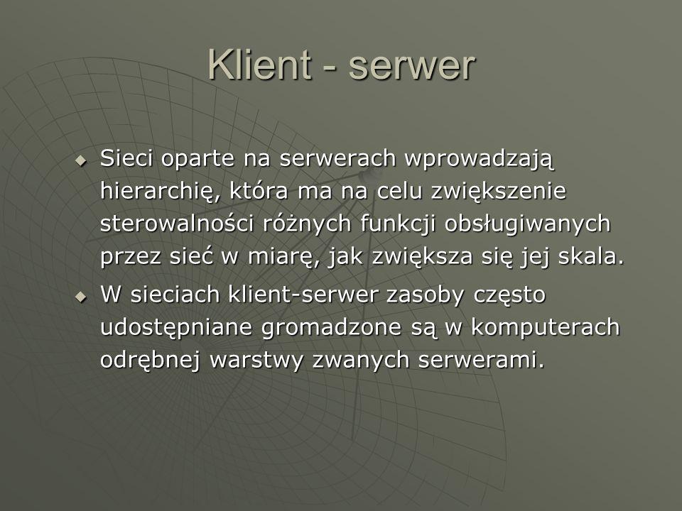 Klient - serwer Sieci oparte na serwerach wprowadzają hierarchię, która ma na celu zwiększenie sterowalności różnych funkcji obsługiwanych przez sieć w miarę, jak zwiększa się jej skala.