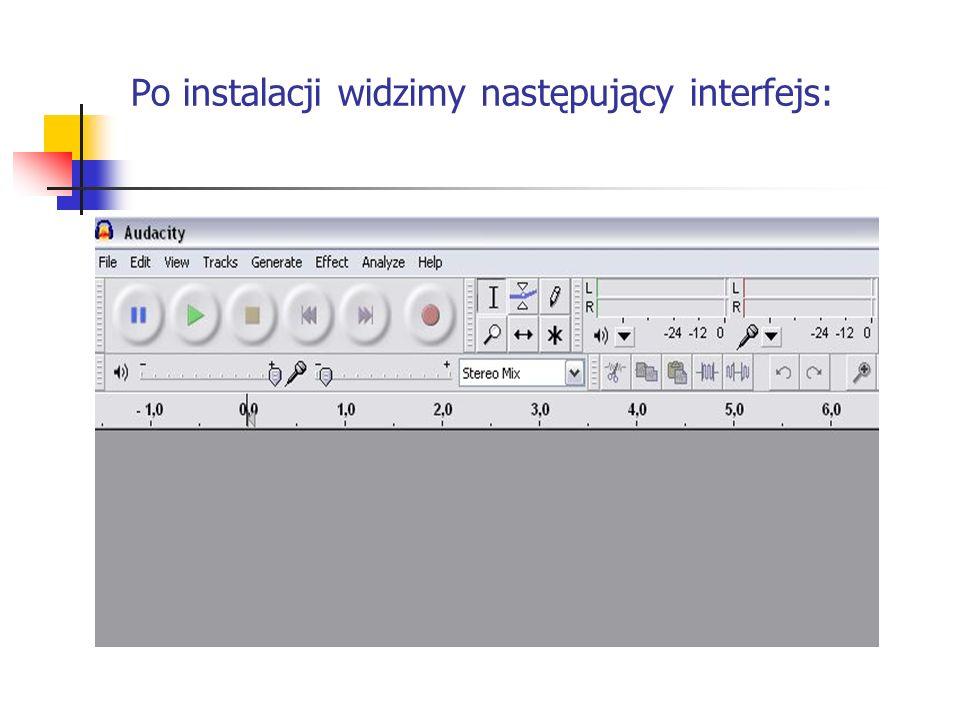 Po instalacji widzimy następujący interfejs: