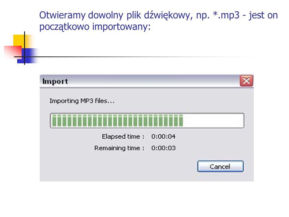 Otwieramy dowolny plik dźwiękowy, np. *.mp3 - jest on początkowo importowany: