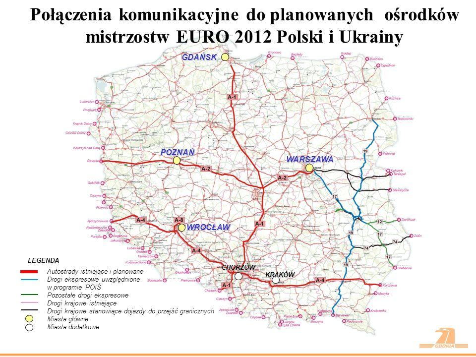 Planowana realizacja zadań na terenie woj.lubelskiego LEGENDA -Drogi ekspresowe ujęte w programie POIiŚ do realizacji w latach 2009-2011 -Drogi ekspresowe planowane do realizacji w latach 2009-2011 jako zadania rezerwowe -Drogi ekspresowe uwzględnione w programie POIiŚ do realizacji do roku 2013 -Obwodnice planowane do realizacji w programie 25 obwodnic -Drogi krajowe