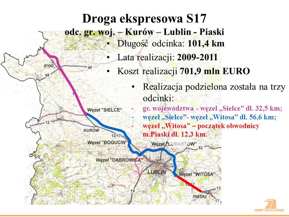 Długość odcinka: 32,5 km Całkowity koszt: 189,1 mln EURO Lata realizacji: 2010 - 2011 STAN PRAC PRZYGOTOWAWCZYCH -KP w trakcie opracowania - IV kw.