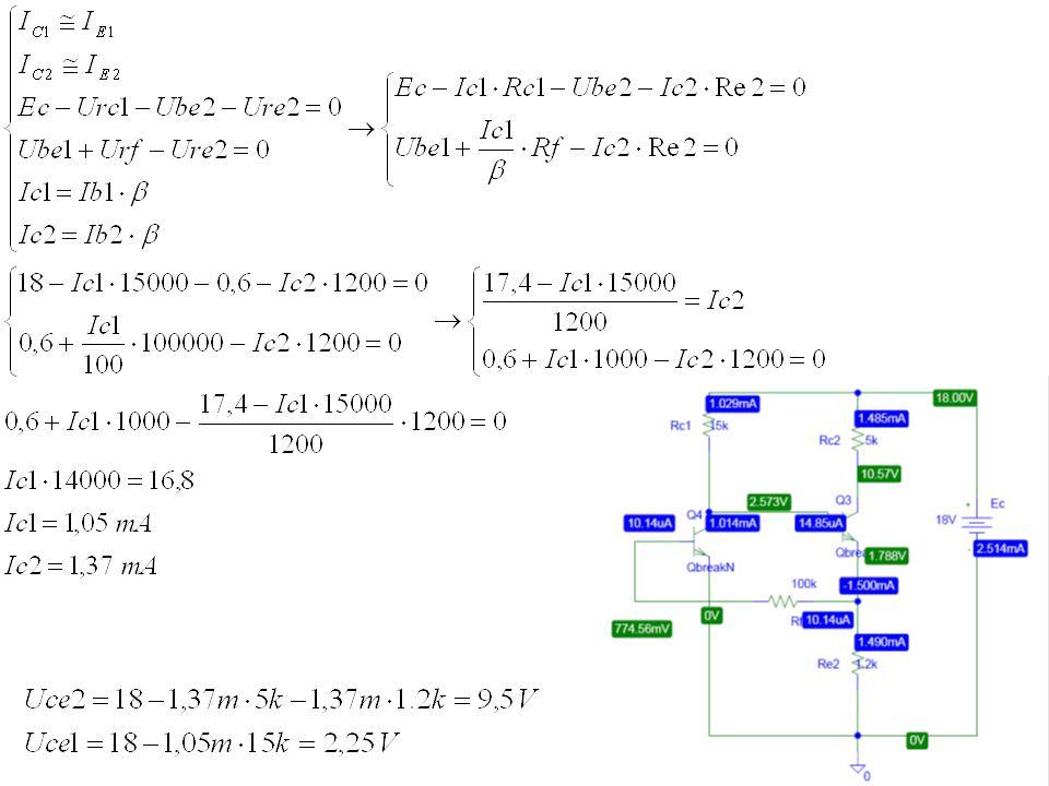 Zadanie 9 Narysuj małosygnałowe schematy zastępcze układów wzmacniacza z rysunku 9 w zakresie częstotliwości średnich, niskich i wysokich.