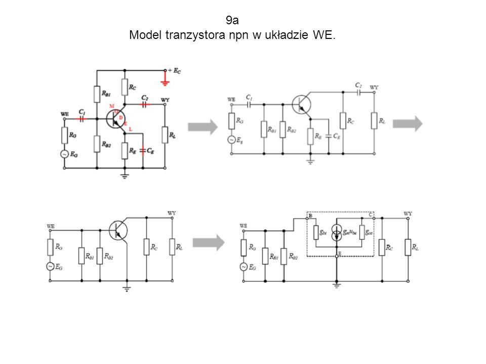 9a Model tranzystora npn w układzie WE.