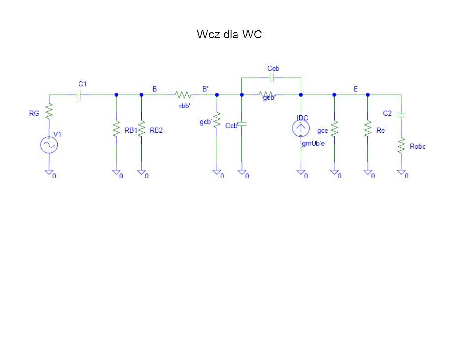 9c Model tranzystora npn w układzie WB. Wcz dla WB