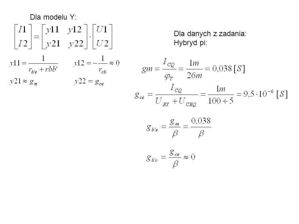 Dla modelu Y: Dla danych z zadania: Hybryd pi: