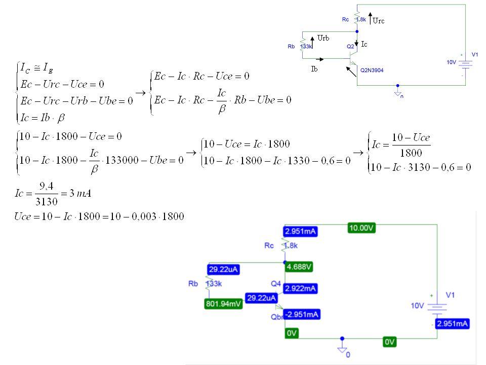 Zadanie 3 Oszacuj punkt pracy tranzystora (ICQ, UCEQ) pracującego w układzie wzmacniacza z rys.3.