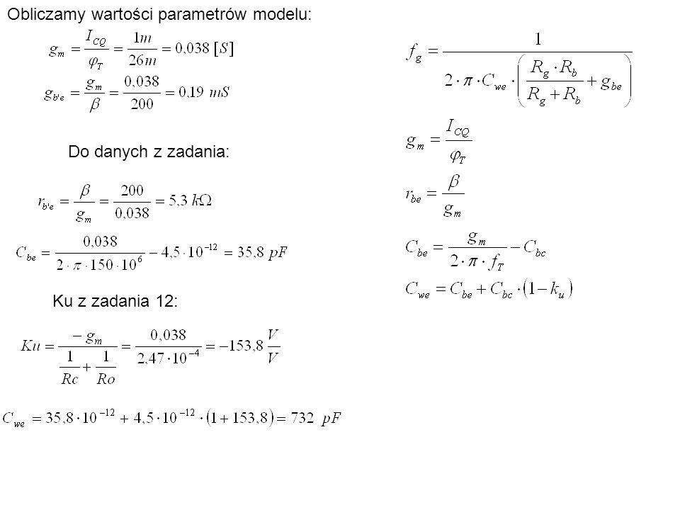Obliczamy wartości parametrów modelu: Do danych z zadania: Ku z zadania 12: