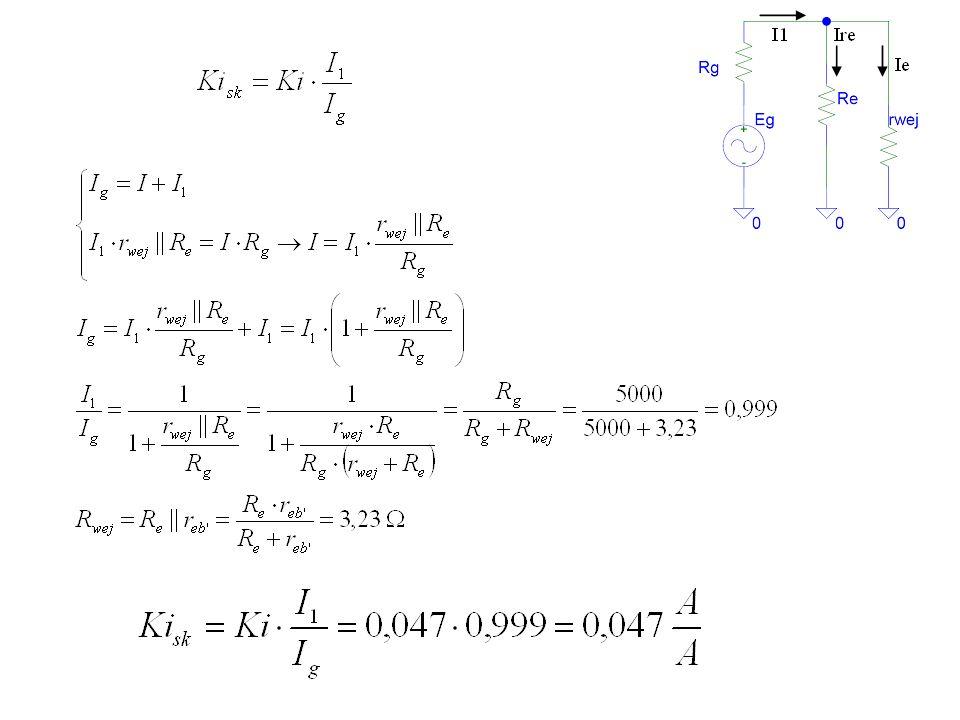 Zadanie 22 Oszacuj rezystancję wejściową oraz wyjściową wzmacniacza z rys.9c.