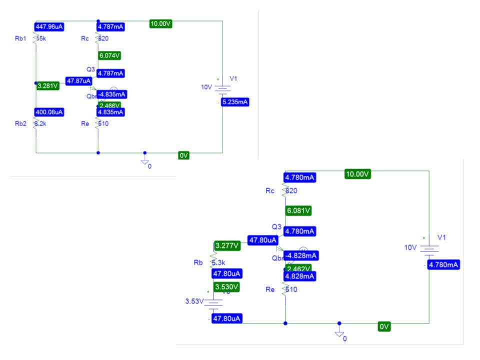Zadanie 4 Oszacuj punkt pracy tranzystora (ICQ, UCEQ) pracującego w układzie wzmacniacza z rys.4.