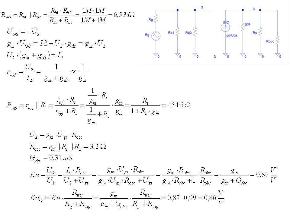 Zadanie 25 Oszacuj parametry robocze (kUsk, RWE, RWY) układu wzmacniacza z rys.10c.