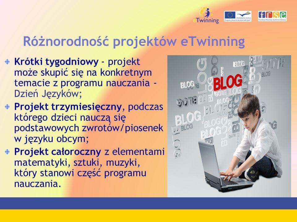 Różnorodność projektów eTwinning Krótki tygodniowy - projekt może skupić się na konkretnym temacie z programu nauczania - Dzień Języków; Projekt trzym