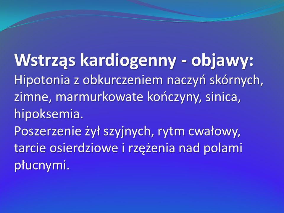 Wstrząs kardiogenny - objawy: Hipotonia z obkurczeniem naczyń skórnych, zimne, marmurkowate kończyny, sinica, hipoksemia. Poszerzenie żył szyjnych, ry