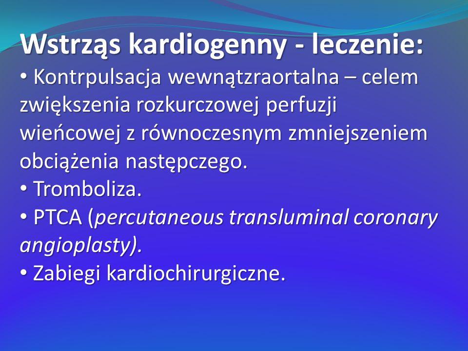 Wstrząs kardiogenny - leczenie: Kontrpulsacja wewnątzraortalna – celem zwiększenia rozkurczowej perfuzji wieńcowej z równoczesnym zmniejszeniem obciąż