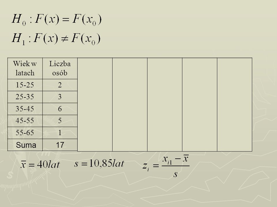 Wiek w latach Liczba osób ZF(Z)niskF(X) 15-252 -1,380,083320,11760,0343 25-353 -0,460,322450,29410,0283 35-456 0,460,6776110,64710,0305 45-555 1,380,9