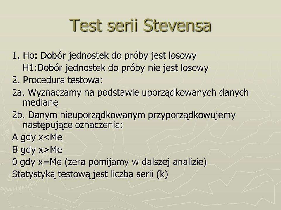 Test serii Stevensa 1. Ho: Dobór jednostek do próby jest losowy H1:Dobór jednostek do próby nie jest losowy 2. Procedura testowa: 2a. Wyznaczamy na po