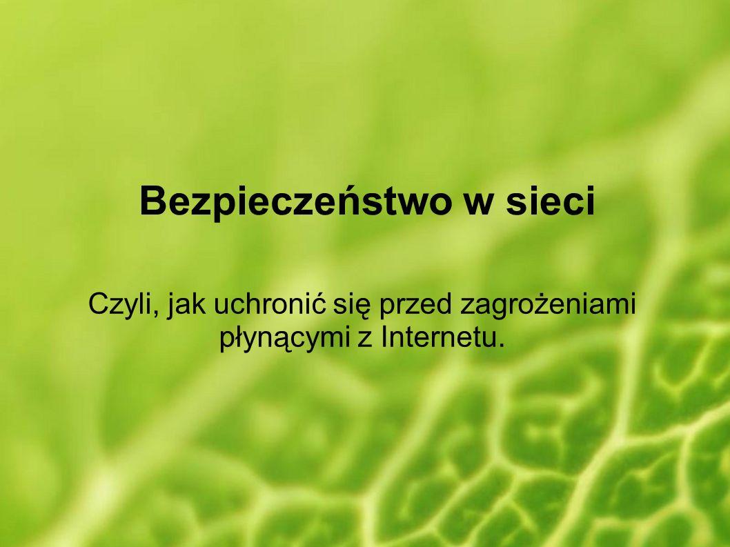 Bezpieczeństwo w sieci Czyli, jak uchronić się przed zagrożeniami płynącymi z Internetu.