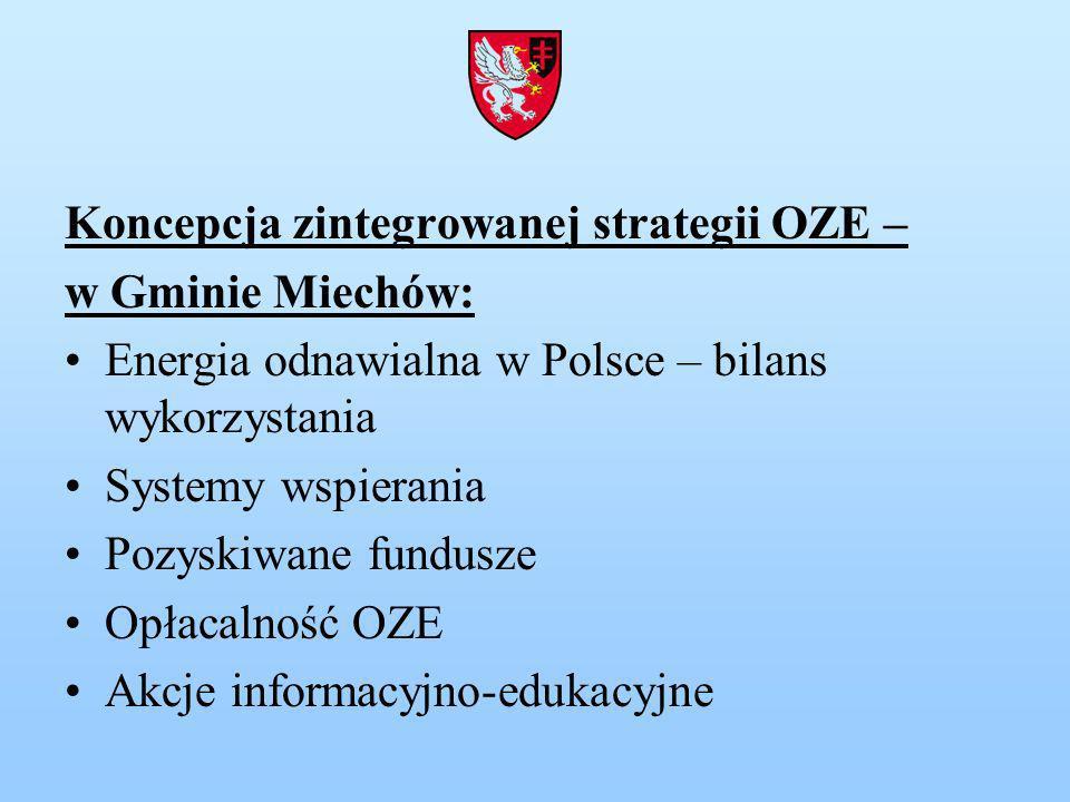 Koncepcja zintegrowanej strategii OZE – w Gminie Miechów: Energia odnawialna w Polsce – bilans wykorzystania Systemy wspierania Pozyskiwane fundusze Opłacalność OZE Akcje informacyjno-edukacyjne