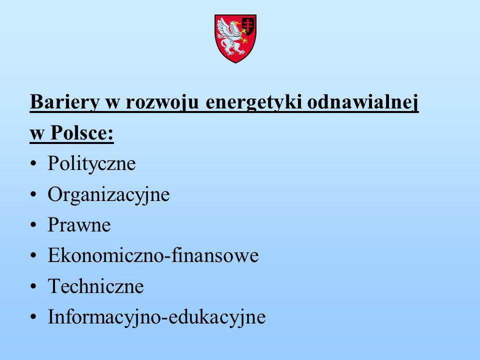Bariery w rozwoju energetyki odnawialnej w Polsce: Polityczne Organizacyjne Prawne Ekonomiczno-finansowe Techniczne Informacyjno-edukacyjne