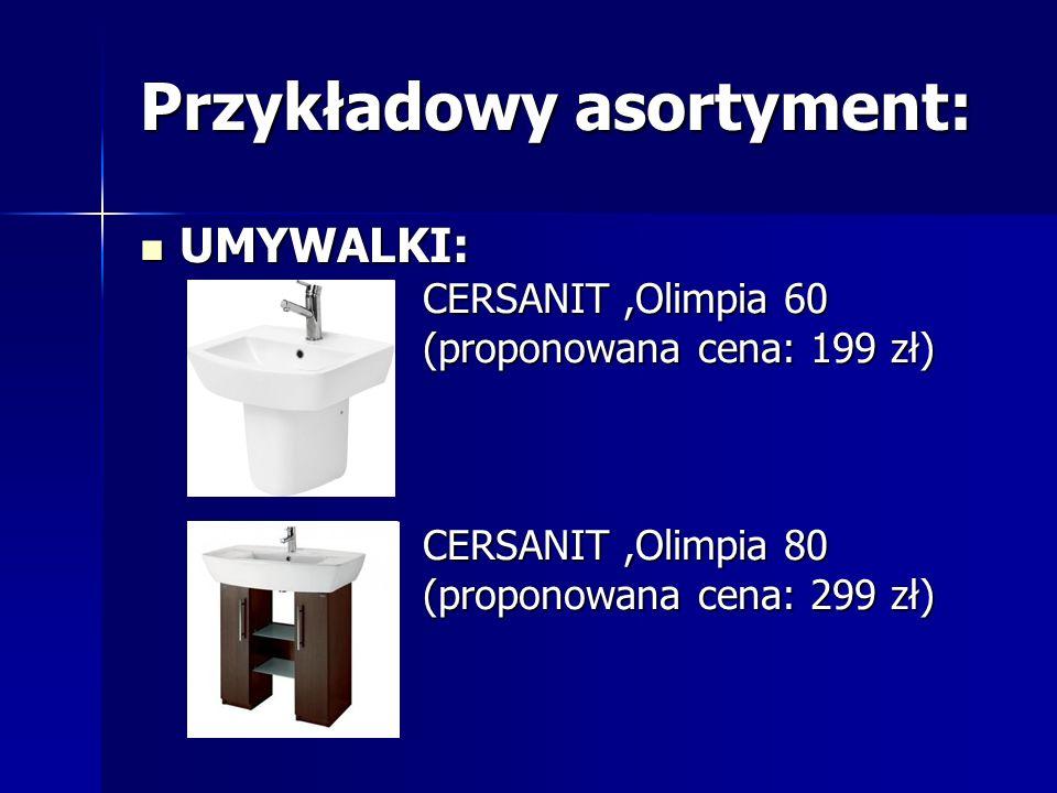 Przykładowy asortyment: UMYWALKI NAROŻNE: CERSANIT,Virgo (proponowana cena: 559 zł)