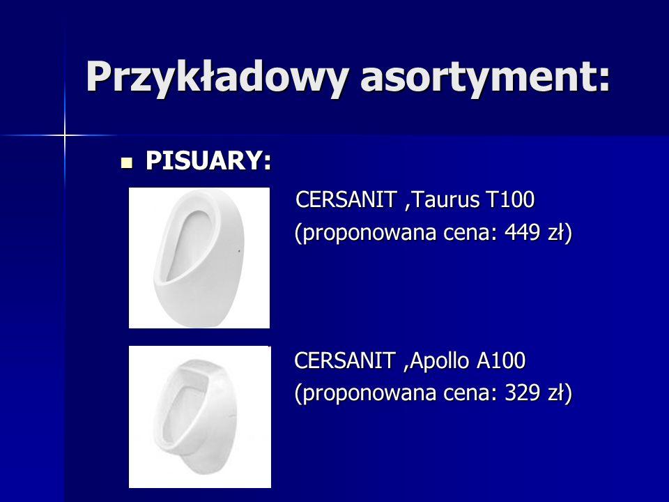 Przykładowy asortyment: PISUARY: C CERSANIT,Taurus T100 (proponowana cena: 449 zł) CERSANIT,Apollo A100 (proponowana cena: 329 zł)