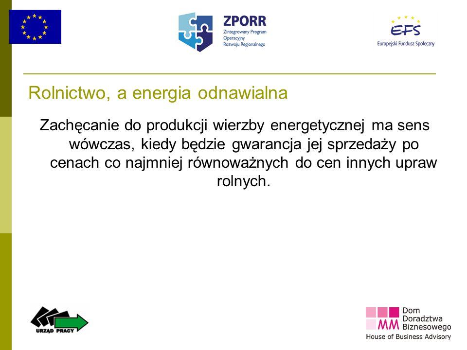 14 Rolnictwo, a energia odnawialna Zachęcanie do produkcji wierzby energetycznej ma sens wówczas, kiedy będzie gwarancja jej sprzedaży po cenach co na