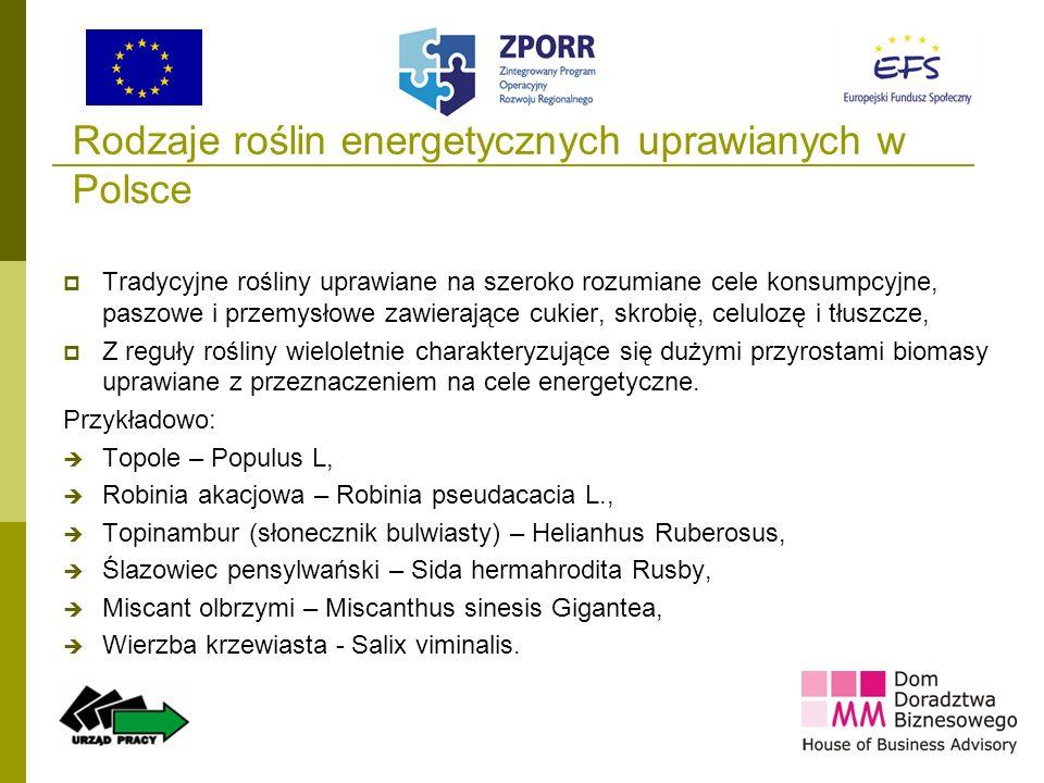 16 Rodzaje roślin energetycznych uprawianych w Polsce Tradycyjne rośliny uprawiane na szeroko rozumiane cele konsumpcyjne, paszowe i przemysłowe zawie