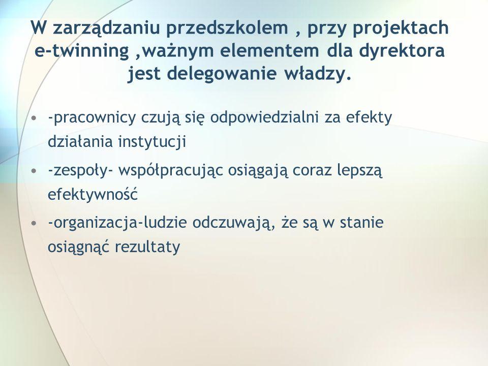 W zarządzaniu przedszkolem, przy projektach e-twinning,ważnym elementem dla dyrektora jest delegowanie władzy.