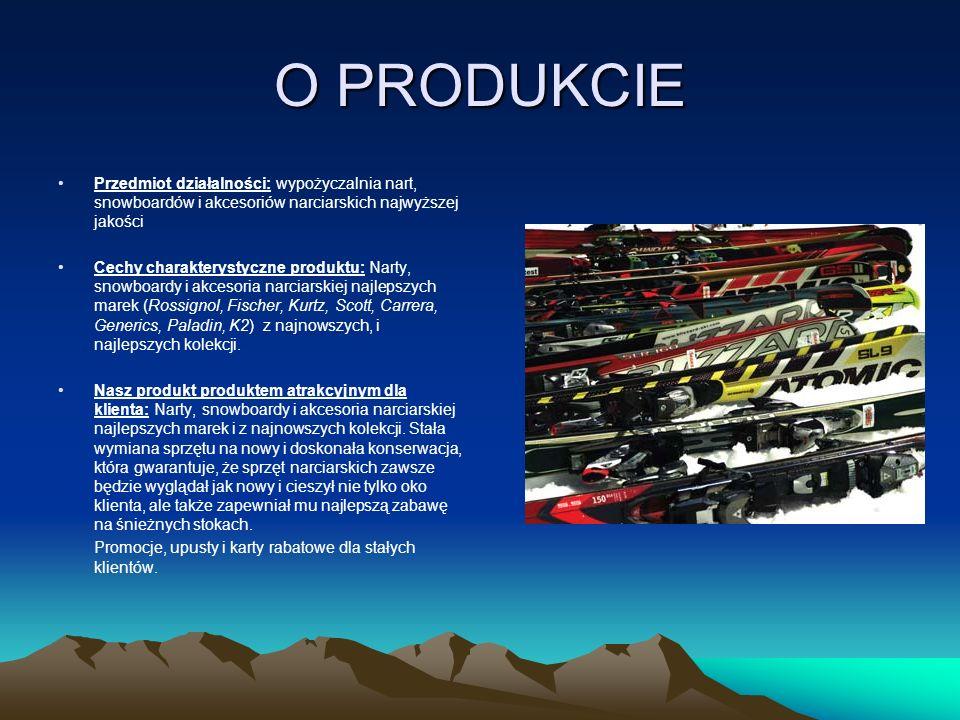 O PRODUKCIE Przedmiot działalności: wypożyczalnia nart, snowboardów i akcesoriów narciarskich najwyższej jakości Cechy charakterystyczne produktu: Nar