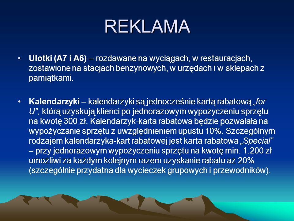 REKLAMA Ulotki (A7 i A6) – rozdawane na wyciągach, w restauracjach, zostawione na stacjach benzynowych, w urzędach i w sklepach z pamiątkami. Kalendar
