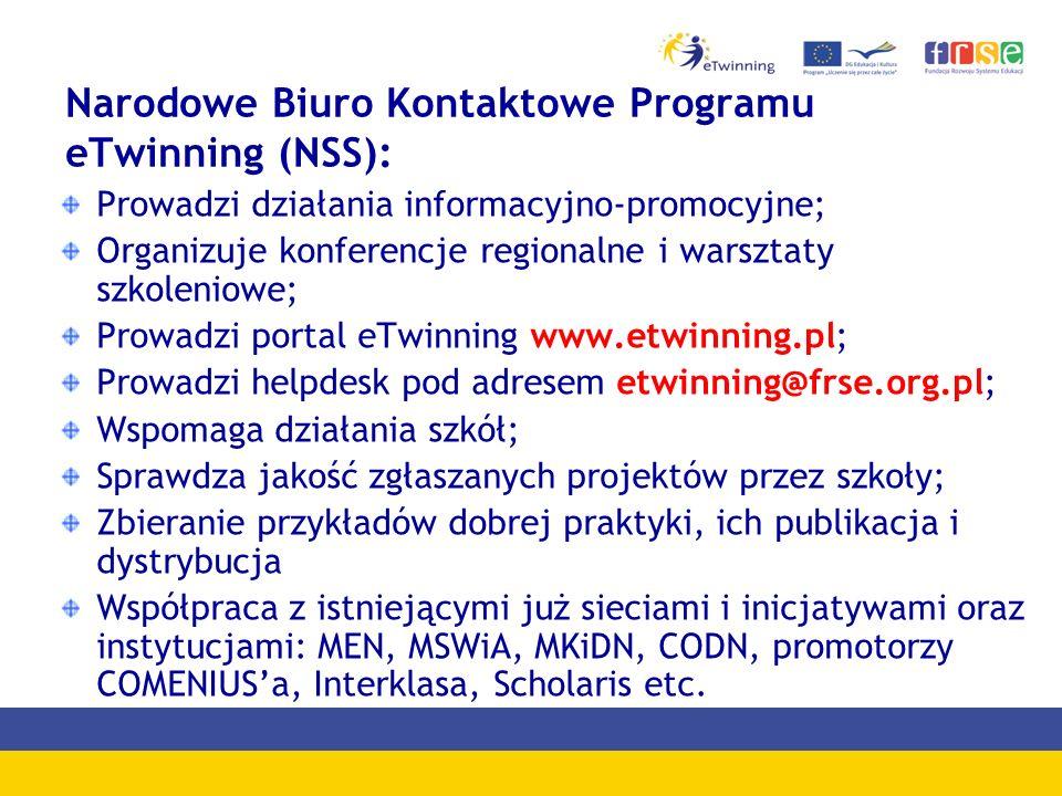 Narodowe Biuro Kontaktowe Programu eTwinning (NSS): Prowadzi działania informacyjno-promocyjne; Organizuje konferencje regionalne i warsztaty szkoleniowe; Prowadzi portal eTwinning www.etwinning.pl; Prowadzi helpdesk pod adresem etwinning@frse.org.pl; Wspomaga działania szkół; Sprawdza jakość zgłaszanych projektów przez szkoły; Zbieranie przykładów dobrej praktyki, ich publikacja i dystrybucja Współpraca z istniejącymi już sieciami i inicjatywami oraz instytucjami: MEN, MSWiA, MKiDN, CODN, promotorzy COMENIUSa, Interklasa, Scholaris etc.