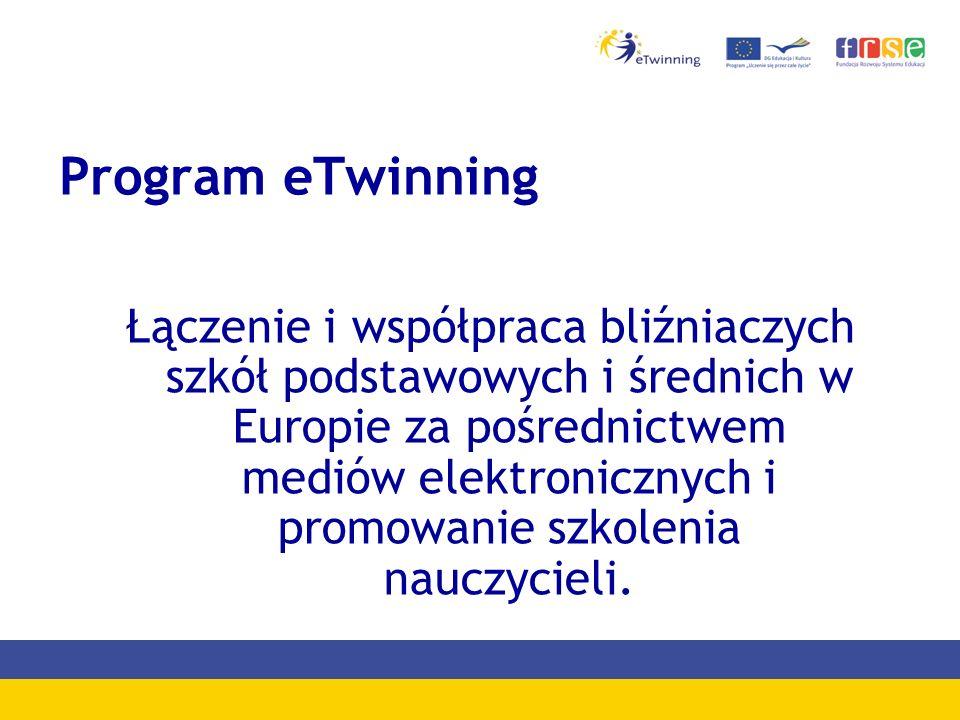 Program eTwinning Łączenie i współpraca bliźniaczych szkół podstawowych i średnich w Europie za pośrednictwem mediów elektronicznych i promowanie szkolenia nauczycieli.
