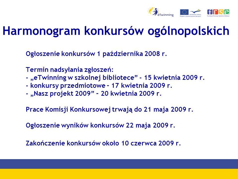 Harmonogram konkursów ogólnopolskich Ogłoszenie konkursów 1 października 2008 r.