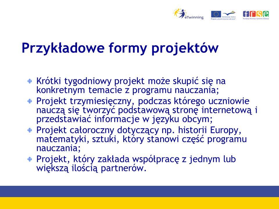 Przykładowe formy projektów Krótki tygodniowy projekt może skupić się na konkretnym temacie z programu nauczania; Projekt trzymiesięczny, podczas którego uczniowie nauczą się tworzyć podstawową stronę internetową i przedstawiać informacje w języku obcym; Projekt całoroczny dotyczący np.