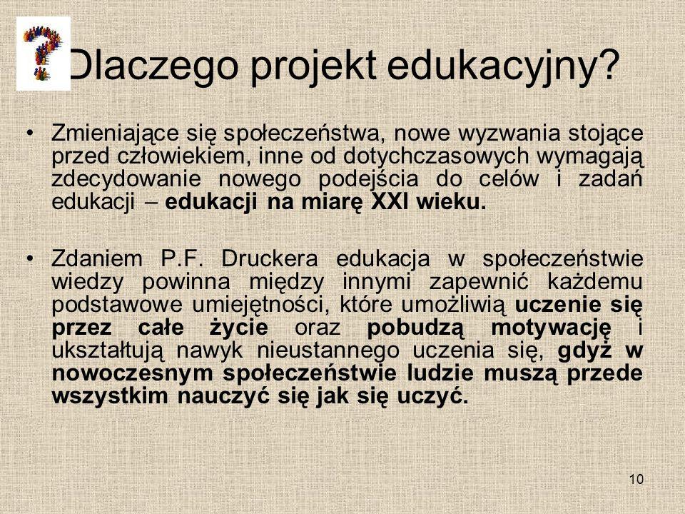 Dlaczego projekt edukacyjny? Zmieniające się społeczeństwa, nowe wyzwania stojące przed człowiekiem, inne od dotychczasowych wymagają zdecydowanie now
