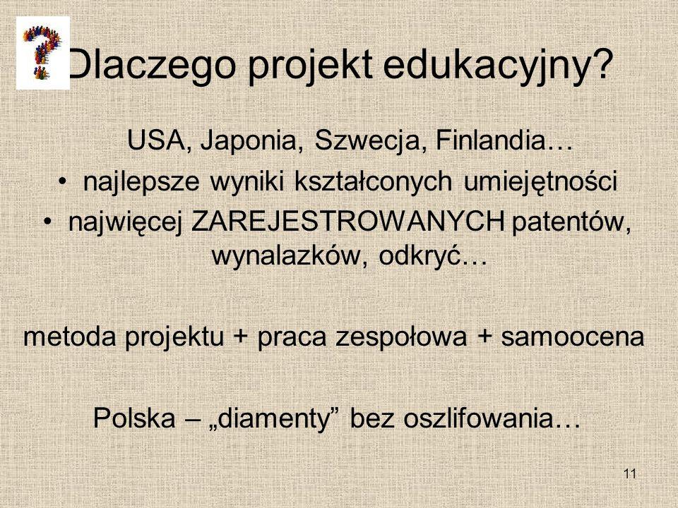 Dlaczego projekt edukacyjny? USA, Japonia, Szwecja, Finlandia… najlepsze wyniki kształconych umiejętności najwięcej ZAREJESTROWANYCH patentów, wynalaz