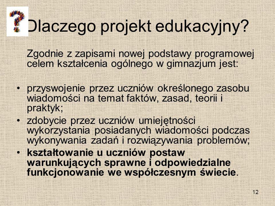 Dlaczego projekt edukacyjny? Zgodnie z zapisami nowej podstawy programowej celem kształcenia ogólnego w gimnazjum jest: przyswojenie przez uczniów okr