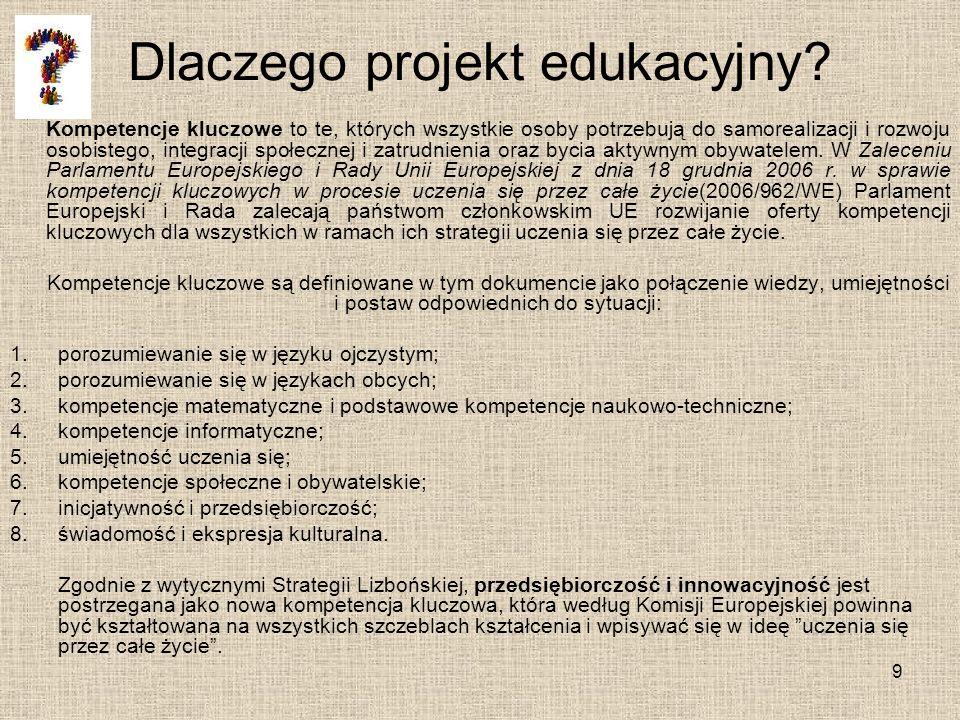 Dlaczego projekt edukacyjny? Kompetencje kluczowe to te, których wszystkie osoby potrzebują do samorealizacji i rozwoju osobistego, integracji społecz
