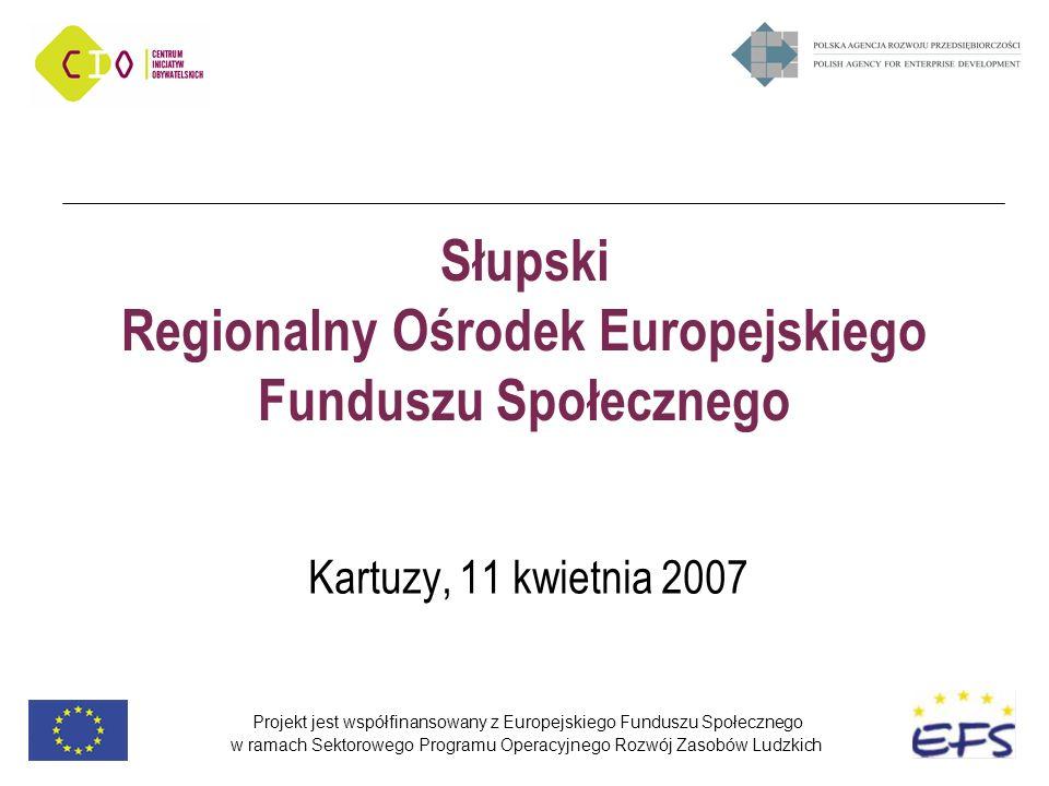 Projekt jest współfinansowany z Europejskiego Funduszu Społecznego w ramach Sektorowego Programu Operacyjnego Rozwój Zasobów Ludzkich Słupski Regionalny Ośrodek Europejskiego Funduszu Społecznego Kartuzy, 11 kwietnia 2007