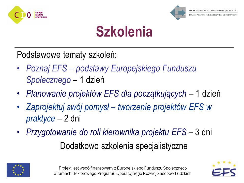Projekt jest współfinansowany z Europejskiego Funduszu Społecznego w ramach Sektorowego Programu Operacyjnego Rozwój Zasobów Ludzkich Szkolenia Podstawowe tematy szkoleń: Poznaj EFS – podstawy Europejskiego Funduszu Społecznego – 1 dzień Planowanie projektów EFS dla początkujących – 1 dzień Zaprojektuj swój pomysł – tworzenie projektów EFS w praktyce – 2 dni Przygotowanie do roli kierownika projektu EFS – 3 dni Dodatkowo szkolenia specjalistyczne