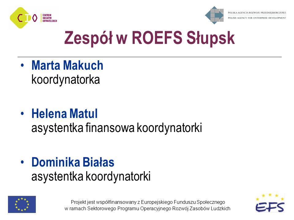 Projekt jest współfinansowany z Europejskiego Funduszu Społecznego w ramach Sektorowego Programu Operacyjnego Rozwój Zasobów Ludzkich Zespół w ROEFS S