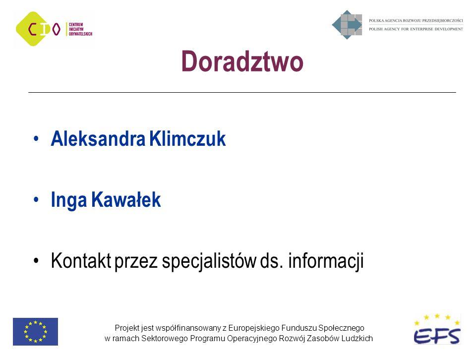 Projekt jest współfinansowany z Europejskiego Funduszu Społecznego w ramach Sektorowego Programu Operacyjnego Rozwój Zasobów Ludzkich Doradztwo Aleksandra Klimczuk Inga Kawałek Kontakt przez specjalistów ds.