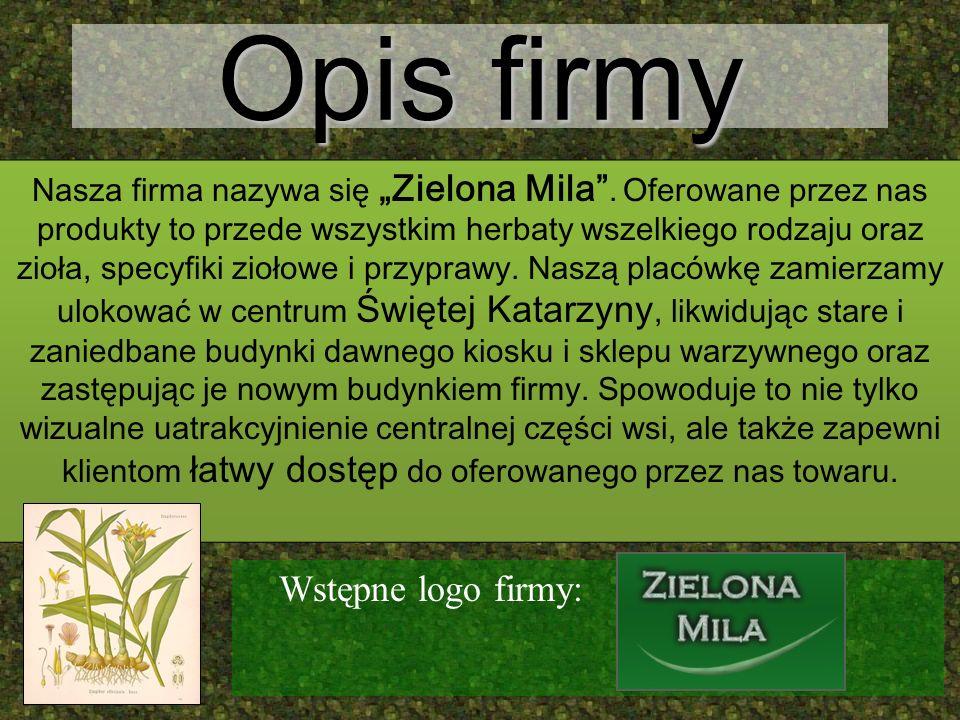 Opis firmy Nasza firma nazywa się Zielona Mila. Oferowane przez nas produkty to przede wszystkim herbaty wszelkiego rodzaju oraz zioła, specyfiki zioł
