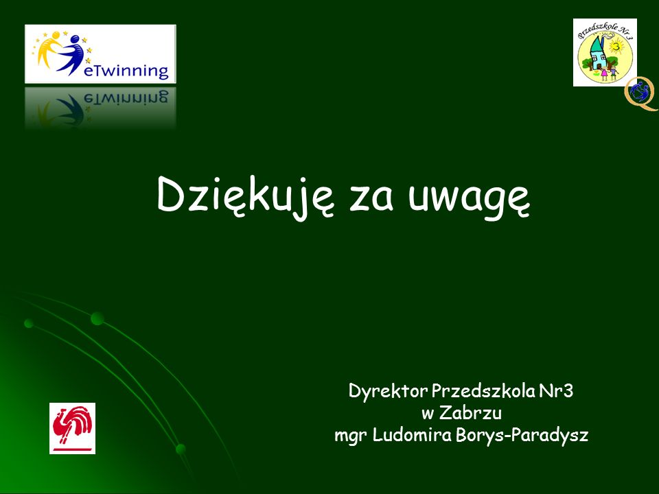 Dziękuję za uwagę Dyrektor Przedszkola Nr3 w Zabrzu mgr Ludomira Borys-Paradysz