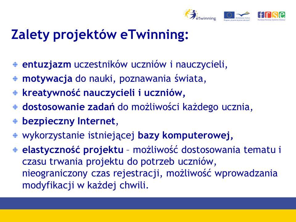Zalety projektów eTwinning: entuzjazm uczestników uczniów i nauczycieli, motywacja do nauki, poznawania świata, kreatywność nauczycieli i uczniów, dos