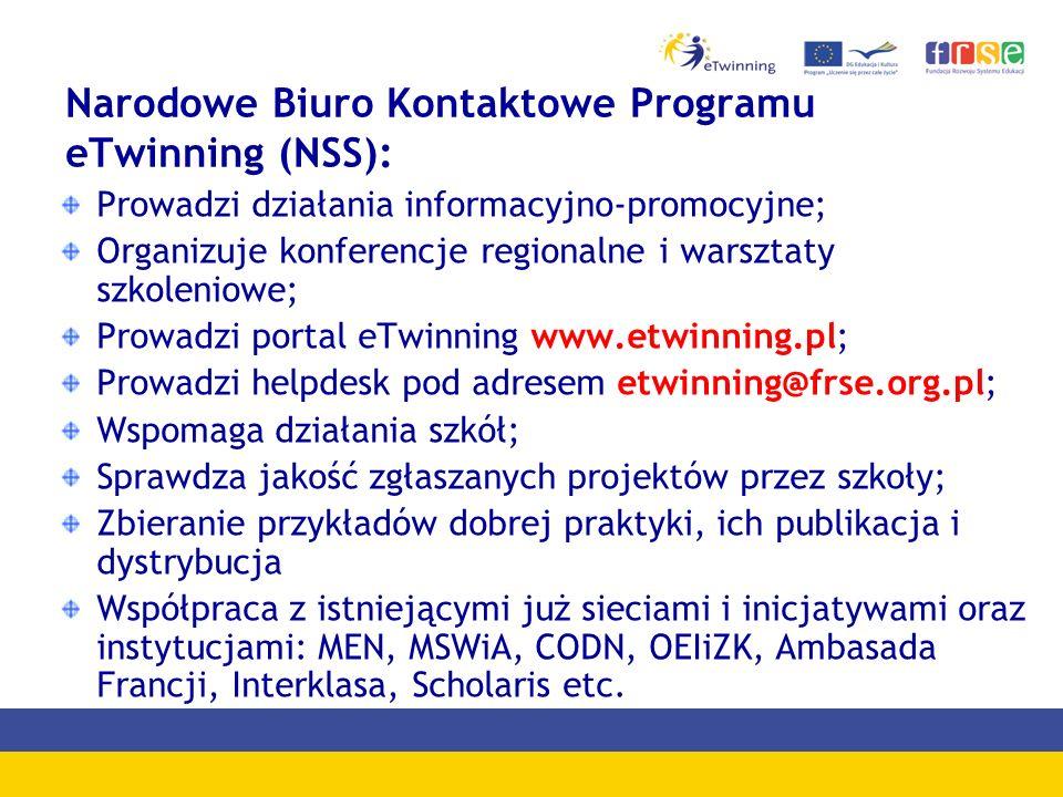 Narodowe Biuro Kontaktowe Programu eTwinning (NSS): Prowadzi działania informacyjno-promocyjne; Organizuje konferencje regionalne i warsztaty szkoleni