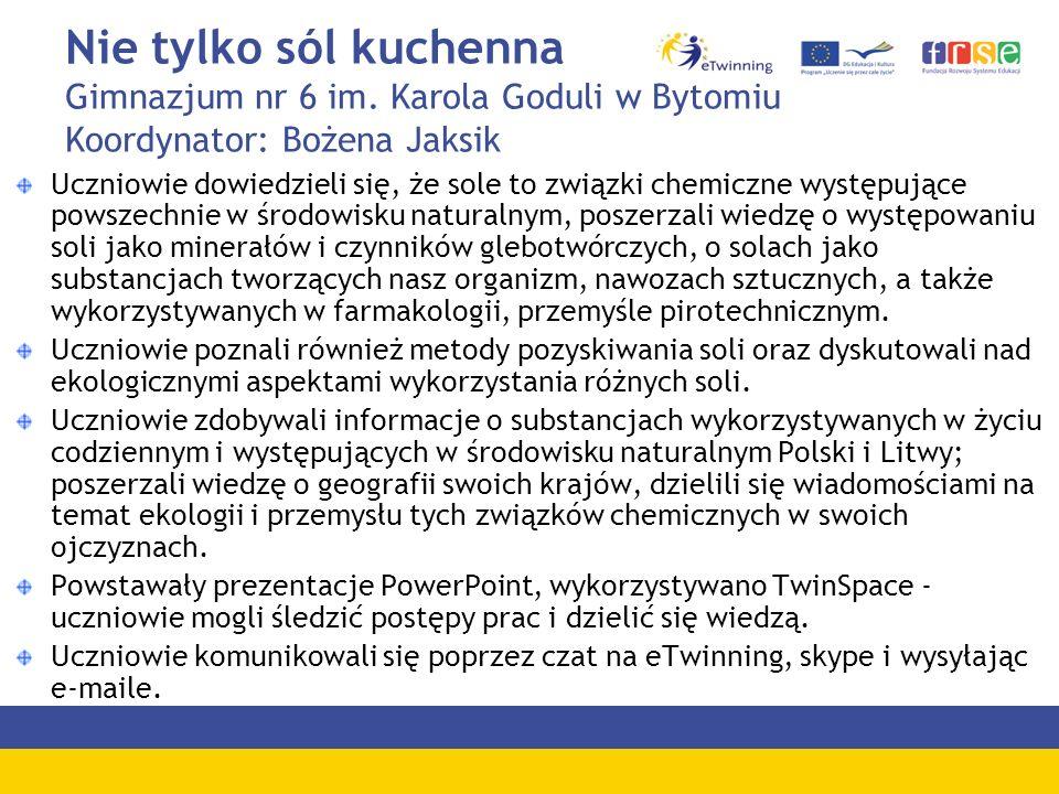 Nie tylko sól kuchenna Gimnazjum nr 6 im. Karola Goduli w Bytomiu Koordynator: Bożena Jaksik Uczniowie dowiedzieli się, że sole to związki chemiczne w