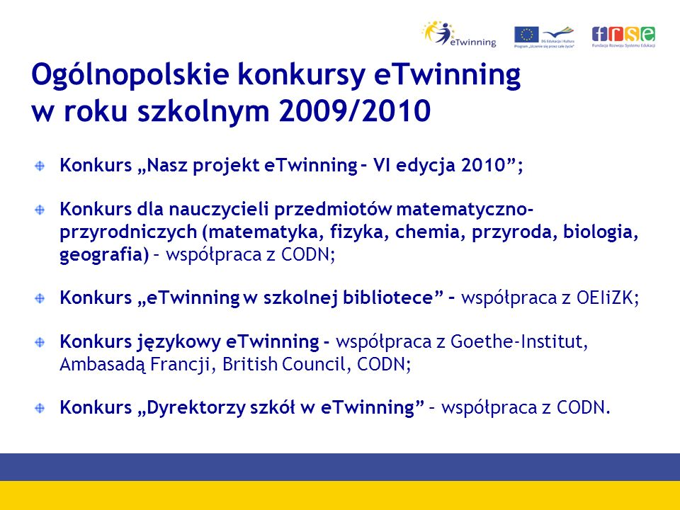 Ogólnopolskie konkursy eTwinning w roku szkolnym 2009/2010 Konkurs Nasz projekt eTwinning – VI edycja 2010; Konkurs dla nauczycieli przedmiotów matema