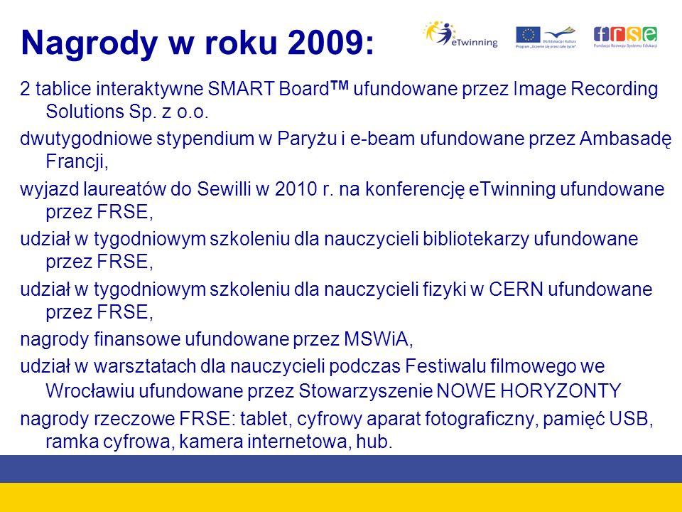 Nagrody w roku 2009: 2 tablice interaktywne SMART Board TM ufundowane przez Image Recording Solutions Sp. z o.o. dwutygodniowe stypendium w Paryżu i e