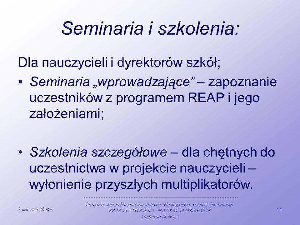1 czerwca 2006 r. Strategia komunikacyjna dla projektu edukacyjnego Amnesty Interational PRAWA CZŁOWIEKA – EDUKACJA DZIAŁANIE Anna Kadzikiewicz 14 Sem